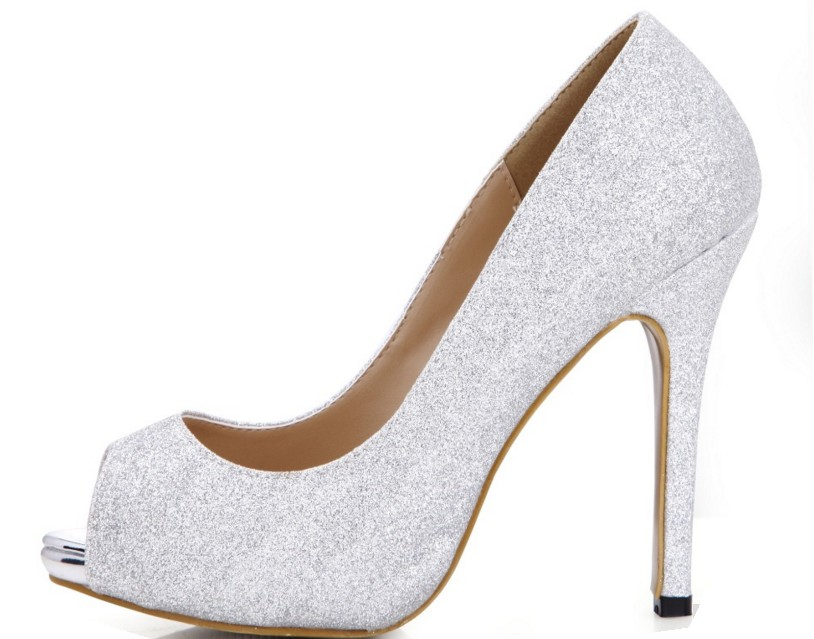New Big size 35-43 Hot Sale Fashion Glitter Women Pumps 11cm Sexy Peep Toe High Heels With Platform Open Toe Wedding Party Shoes odetina 2018 new fashion women platform mules pumps extreme high heels party sexy shoes peep toe ladies footwear big size 33 43