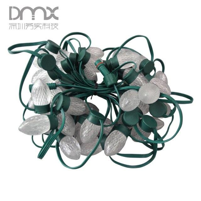 200 шт. LED C9 крышка Адресуемая WS2811 DC12V S24 8 мм technicolor pixel Модуль string 50 узлов/strand Зеленая проволока и чехол