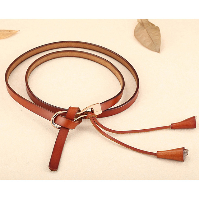 Leather Brand Women Tassel Waistband Decorated Thin Belt for Dress skirt Fashion Thin Strap Vintage Female Belt