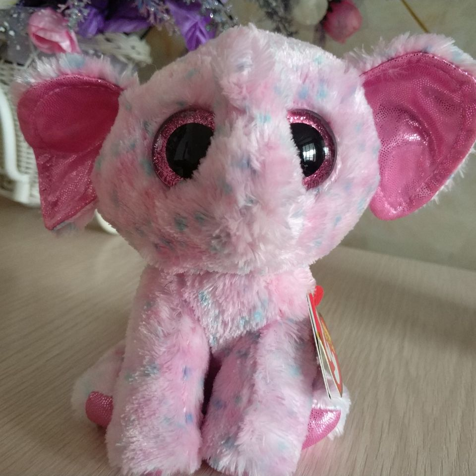 Ty Beanie Boos 1pc 15cm Big Eye Ellie Elephant Stuffed Animals Kids
