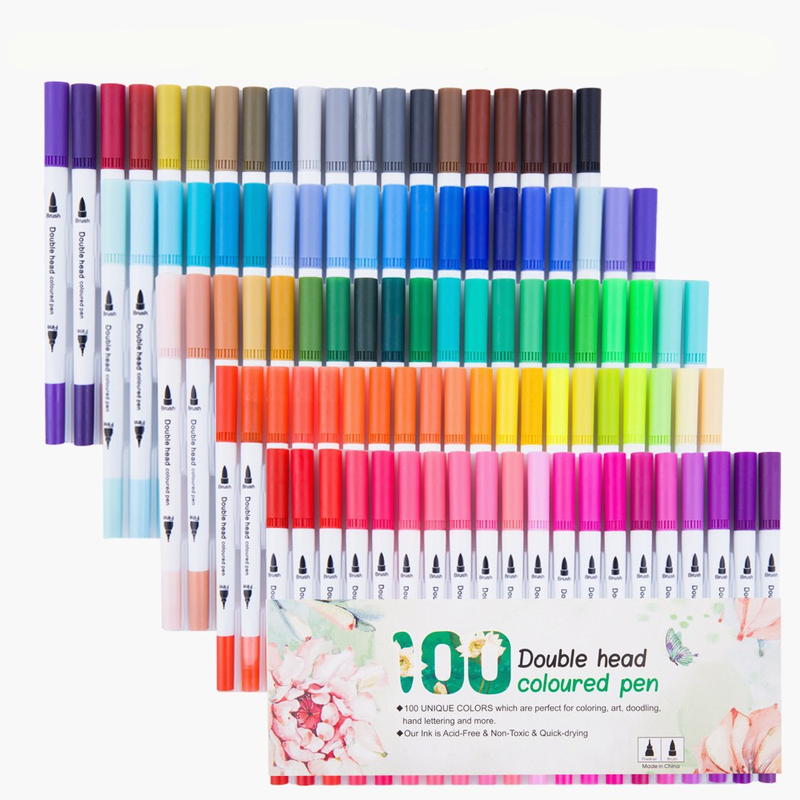 24/36/48/60/80/100PCS Colors Art Markers Fine Liner Dual Tip Brush Marker Pen Set for Adult Drawing Calligraphy Bullet Journal