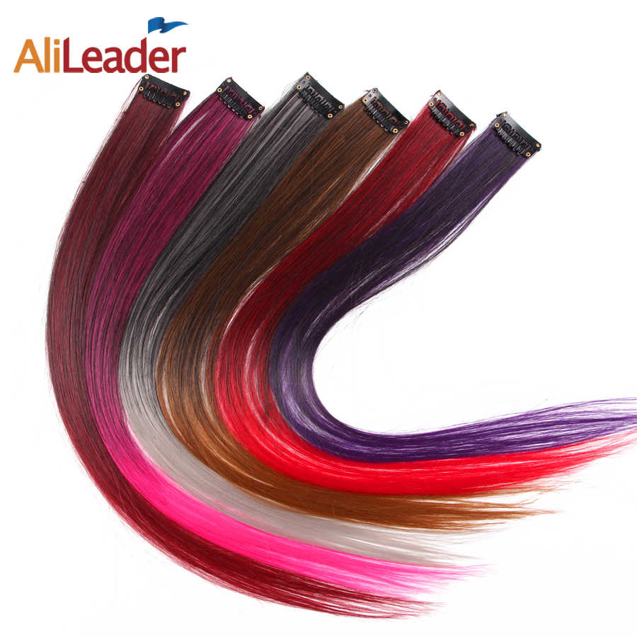 Alileader Long Straight Women Synthetic Clip In One Piece Hair Extensions Rainbow Color One Piece Hairpiece Purple Pink Red Blue