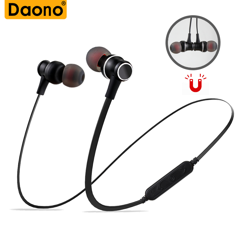DAONO Bluetooth Wireless Headphone Sport Running Stereo Headset Magnet Earbuds Music Earphone Support Micro SD TF Card