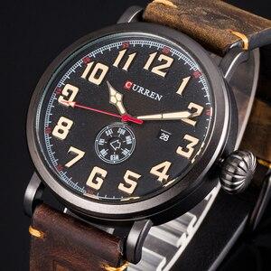Image 1 - Nouveau CURREN hommes montres Top marque de luxe hommes montre à Quartz étanche Sport militaire montres hommes en cuir relogio masculino