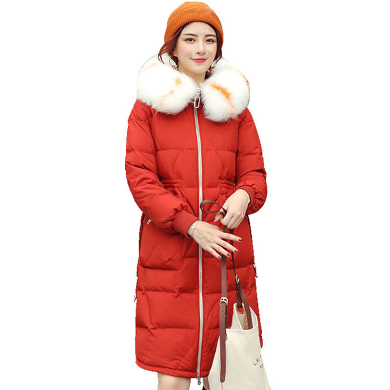 Women Winter Duck   Down     Coat   Fashion Female Big Fur Collar Long Parkas Jacket Thick Warm Elegant   Down     Coats   Slim Jacket Outwear