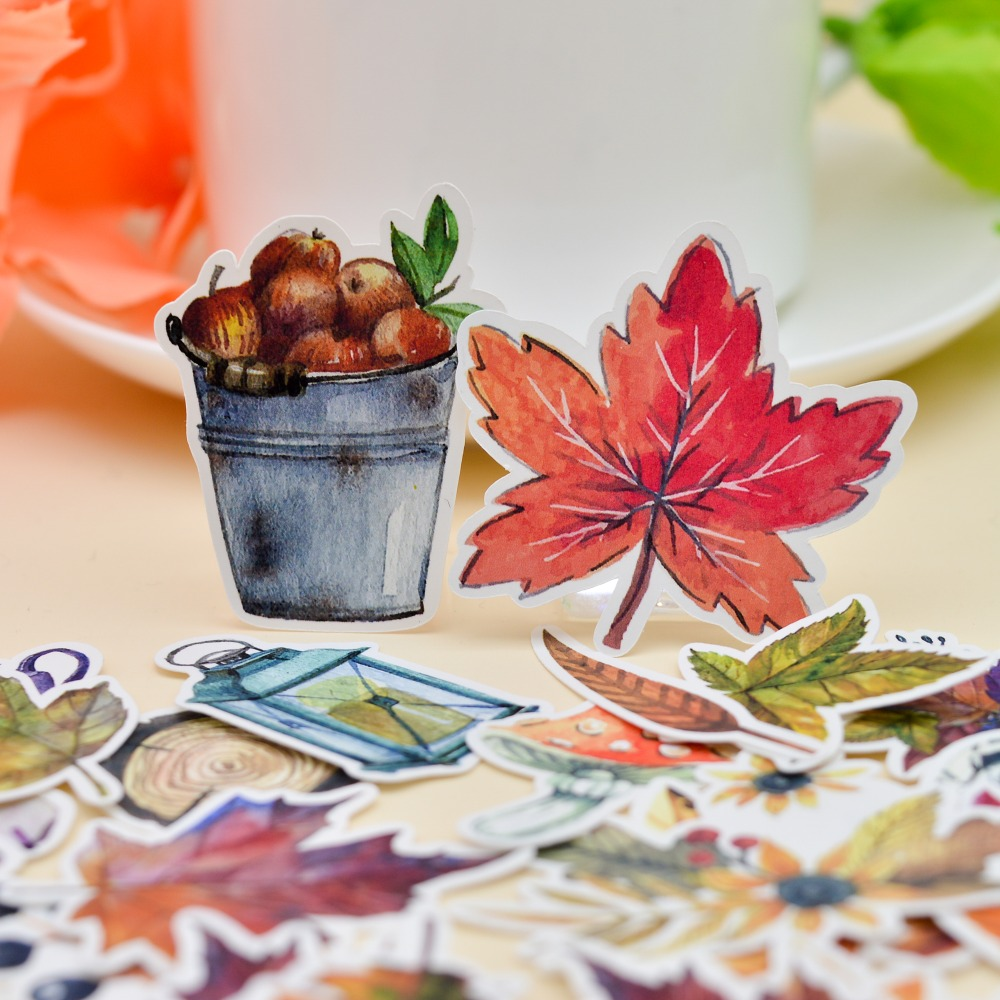 49pcs Watercolor Beauty Autumn Leaf Sticker /leaves Decoration Notebook Planner Dairy /DIY Very Thin Paper Sticker