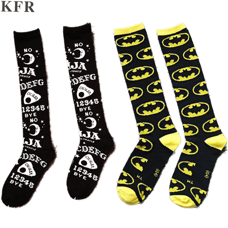 2019 Thigh High Long   Socks   Womens cotton Ladies Black Color Over The Knee Fashion Letter Pattern Ouija board female funny   socks
