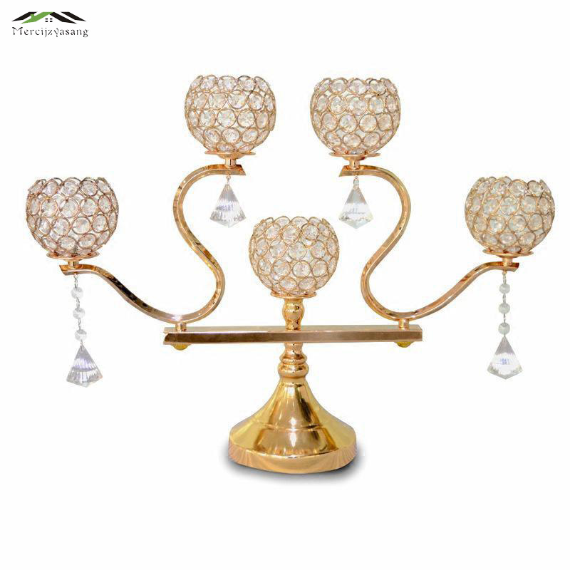 2Pcs lot Metal Gold Silver Candle Holders 5 Arms With Crystals 60CM Stand Pillar Candlestick For