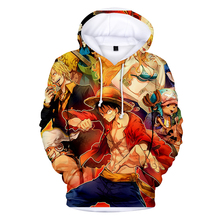 3D One Piece Anime Hoodies pullovers Long Sleeve