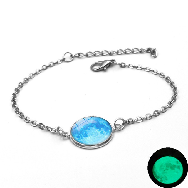 Glow In The Dark Charms Bracelet Glass Cabochon Gray Moon Luminous Jewelry Silver Chain Link Bracelets for Women Girl Gift 5