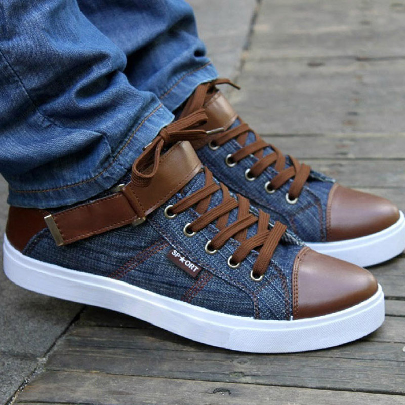 Hot 2018 Men Denim Casual Shoes Autumn Winter Male Lace-Up Tie Hasp Comfortable Leather Flats Man Breathable Cotton Ankle Boots
