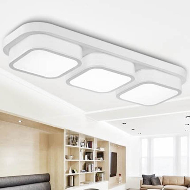 Modern Simple Rectangular Ceiling Light Dining Room Bedroom LED Lamp Balcony Corridor Package Installation ZH