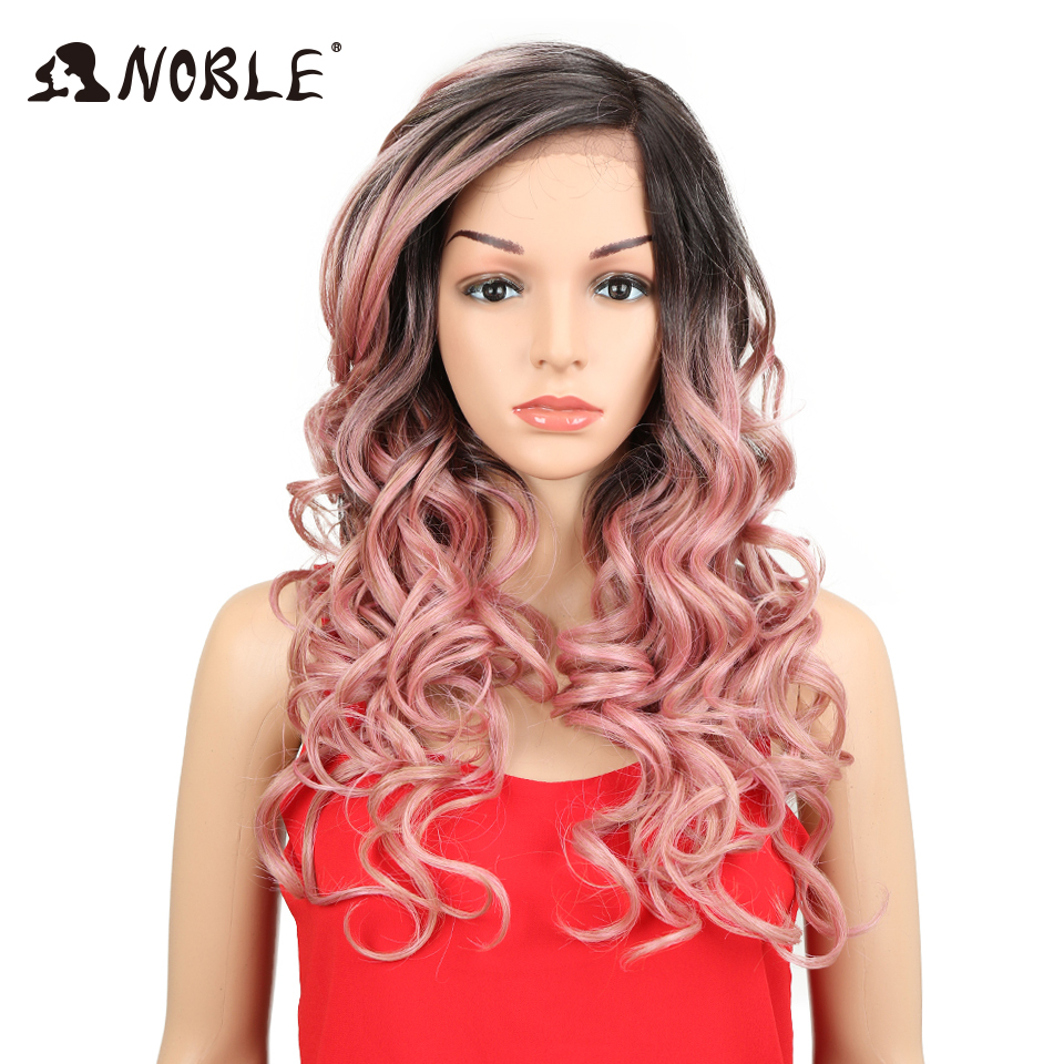 Noble Synthetic Lace Front Wig L Side Part Lace Nature Black Ombre Pink Gold Heat Resistant Synthetic Wigs For Black Women ...