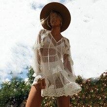 Summer Long Sleeves Beach Dress  Beachwear Layered Ruffle Lace Cover Bikini Women Swimming Suit Hot Covers