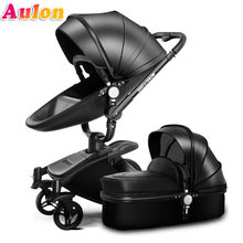 Aulon baby stroller free shipping leather Luxury baby stroller 2 in 1 fashion stroller European stroller for lying and seat bra(China)