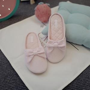 Image 4 - น่ารัก BowTie ชั้นรองเท้าแตะรองเท้าผู้หญิงรองเท้าลื่น Breathable Home House รองเท้าแตะในร่มห้องนอนฤดูใบไม้ผลิฤดูใบไม้ร่วง