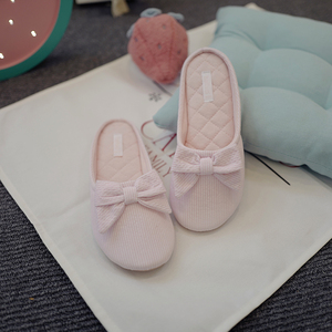 Image 4 - Cute BowTie Floor Slippers Shoes Women Non Slip Shoes Breathable Home House Indoor Slippers Bedroom Spring Autumn