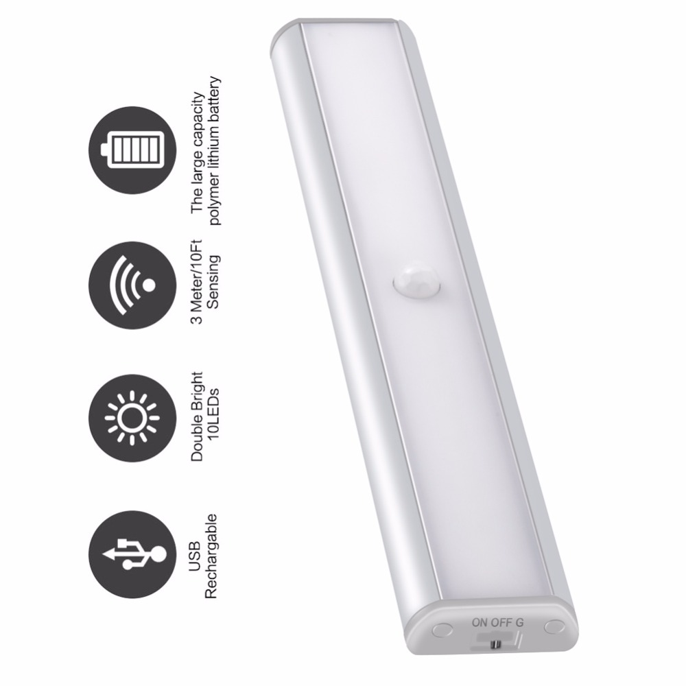 PIR motion sensor LED Under Cabinet Light for Closet Wardrobe Lighting Portable led Lamp by USB Rechargeable Led Night Lights 10 led wireless pir auto motion sensor light intelligent portable infrared induction lamp night lights for cabinet hotel closet