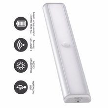 PIR motion sensor LED Under Cabinet Light for Closet Wardrobe Lighting Portable led Lamp by USB Rechargeable Led Night Lights(China)