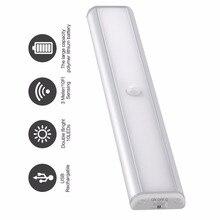 Pir motionセンサーledアンダーキャビネットクローゼットワードローブ照明用ポータブルledランプusb充電式ledナイトライト