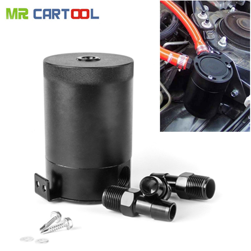 Auto Aluminum Oil Catch Tank 400ml Reservoir Compact Baffled 3-Port Can Universal Racing Car Leak-Free Sealed Universal car eyki h5018 high quality leak proof bottle w filter strap gray 400ml