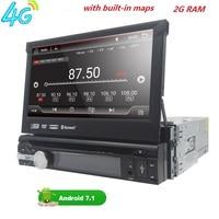 Universal 1 din Android 7.1 Quad Core Car DVD player GPS Wifi BT Radio BT 2GB RAM 32GB SD 16GB ROM 4G SIM LTE Network SWC RDS CD