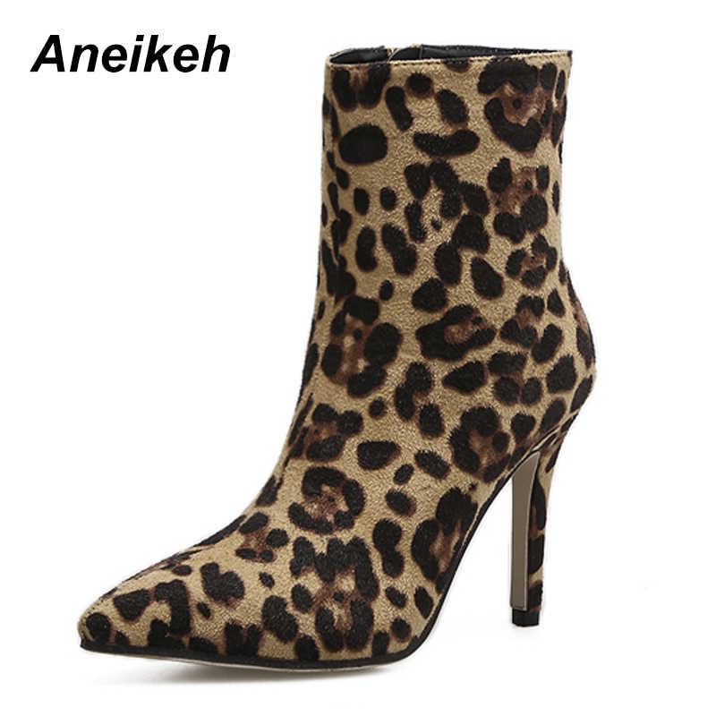 Aneikeh 2019 г. женские ботильоны, пикантная зимняя обувь из флока на  высоком каблуке 3a0a45aa967