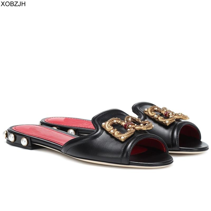Femmes sandales plates chaussures d'été 2019 marque sans lacet de luxe en cuir D sandales matures dames noir G pantoufles Designer chaussures femme