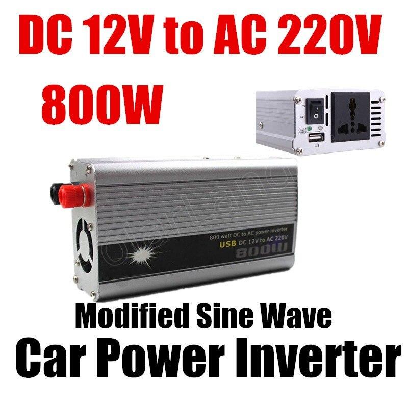 DC 12 v à AC 220 v USB chargeur modifié onde sinusoïdale transformateur de tension de voiture offre spéciale 800 W convertisseur d'inverseur de puissance de voiture