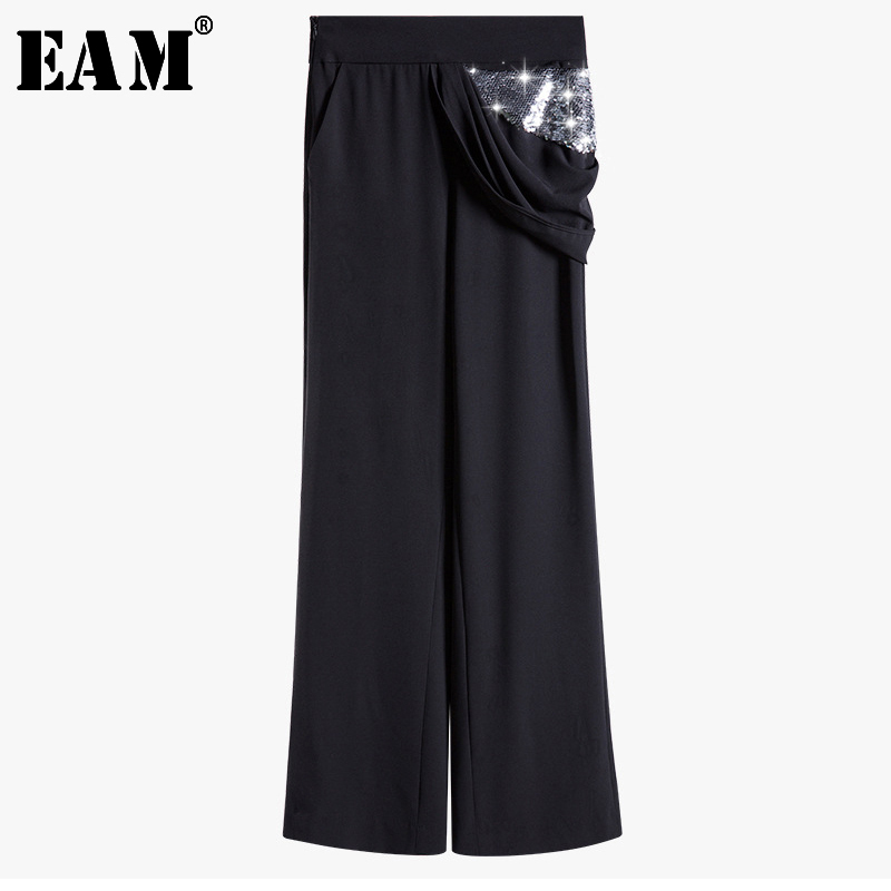 [EAM] 2019 New Autumn Summer High Waist Black Sequins Pleated Stitch Loose   Wide     Leg     Pants   Women Trousers Fashion Tide JS559