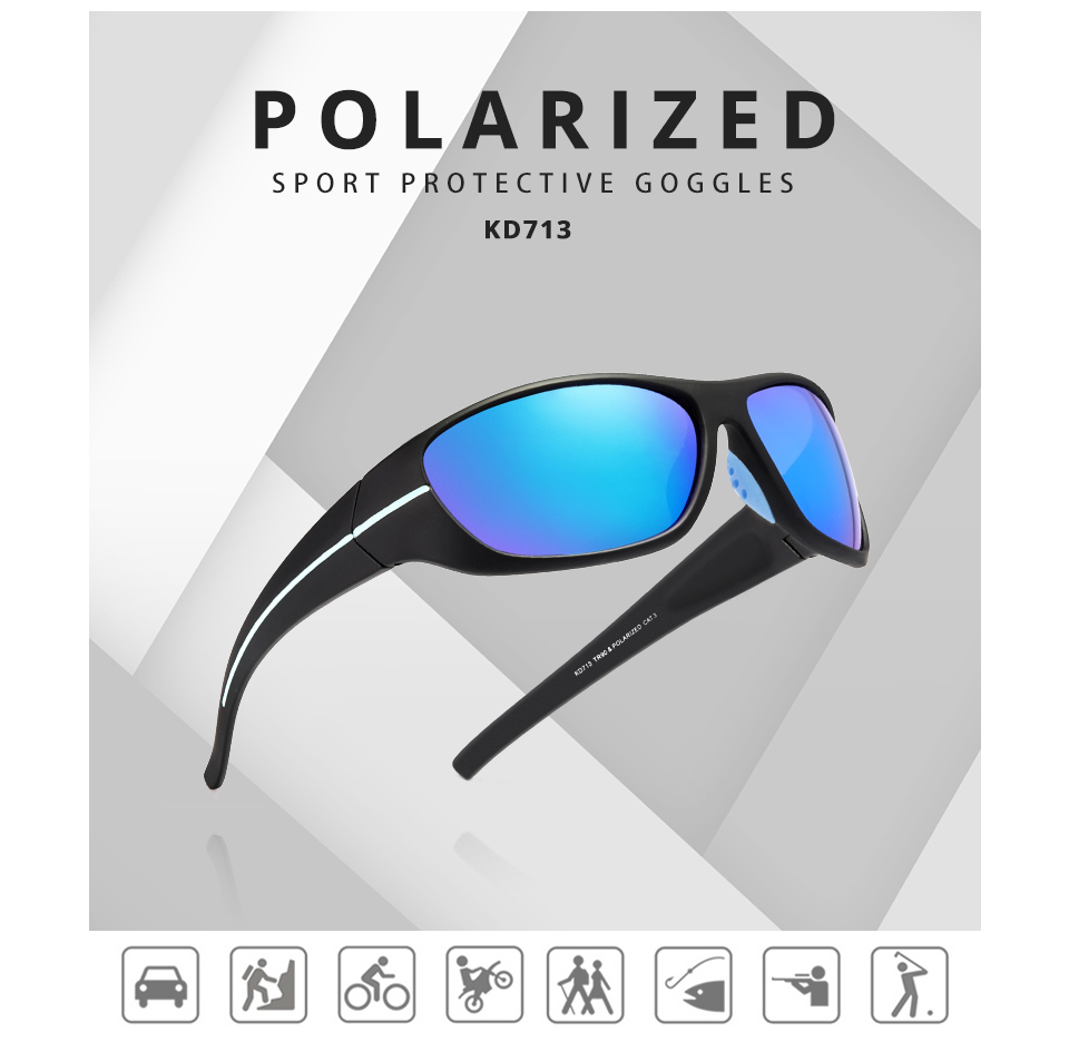 TR90 Frame Polarized mirrored lens KDEAM Men Sport sunglasses Night vision driving Glasses Outdoor Fishing eyewear KD713