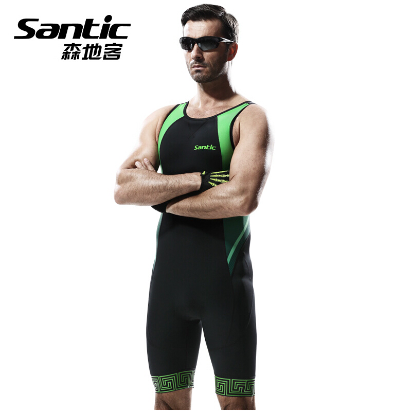 SANTIC Men Triathlons Cycling Jerseys Sleeveless Bike Skinsuit Bicycle Clothing Professional Wear For Swimming Running Riding santic men s cycling hooded jerseys rainproof waterproof bicycle bike rain coat raincoat with removable hat for outdoor riding