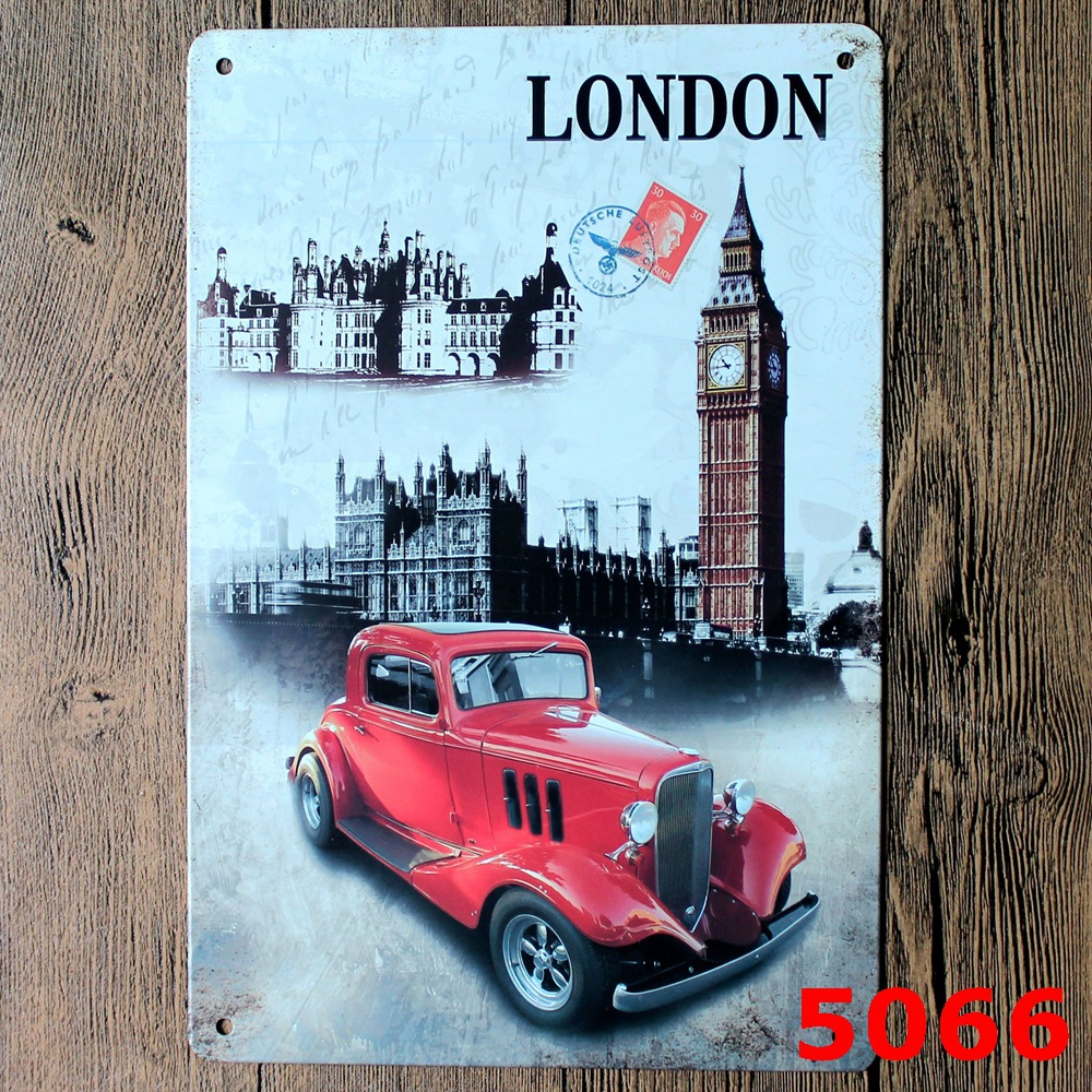 London Car Vintage Metal Tin Signs Retro Tin Plate Sign Wall ...