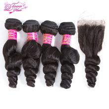 Queen Love Hair Malaysia Human Hair Loose Wave 4 Bundles With Closure Remy Human Hair Weave Natural Color Bundles With Closure