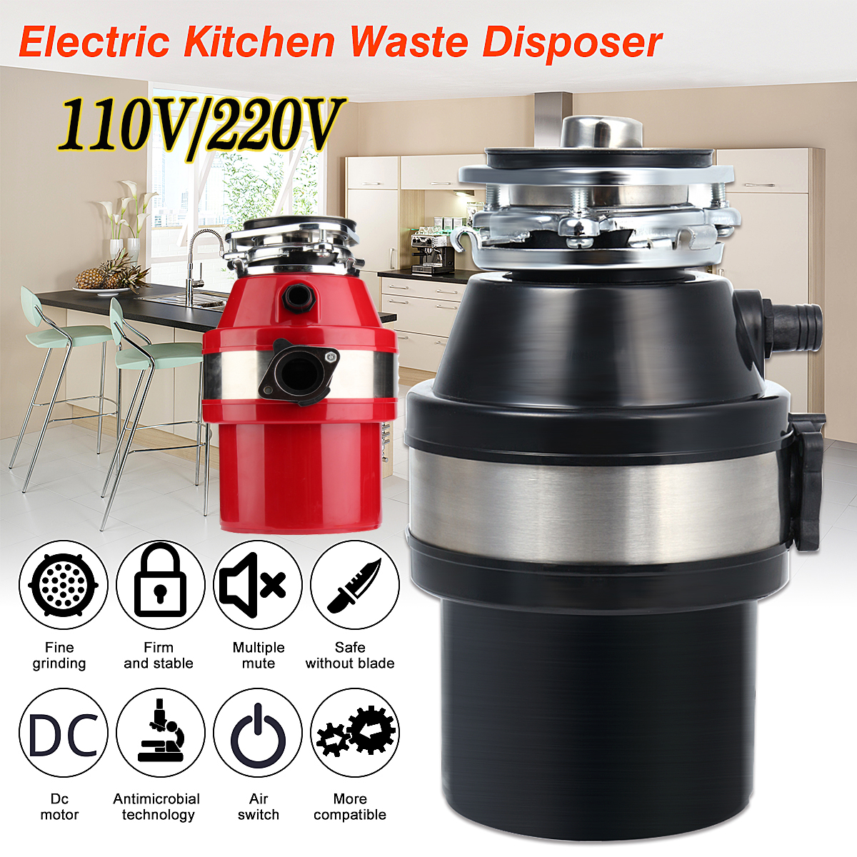 Household Food Waste Disposer 110V 370W 2600rpm 900mL Electric Garbage Disposal Waste Disposer High Density Alloy Material