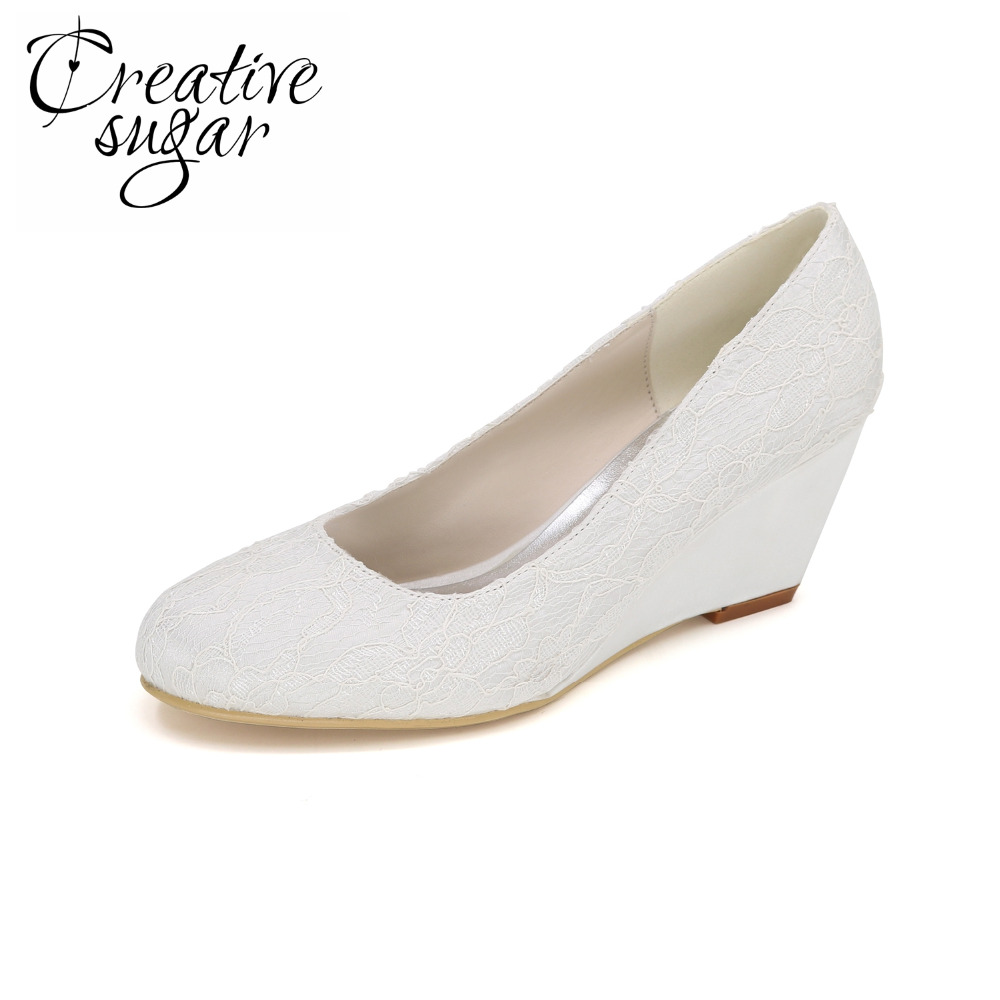 Creativesugar Closed toe wedges elegant pink white lace blue black wedges mother daughter party prom shoes beach weddng heels creativesugar elegant t strap lace
