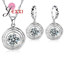 Jemmin Top Quality Girl Accessories 925 Sterling Silver Hollow Circle Crystal Necklace Earrings Women Jewelry Sets