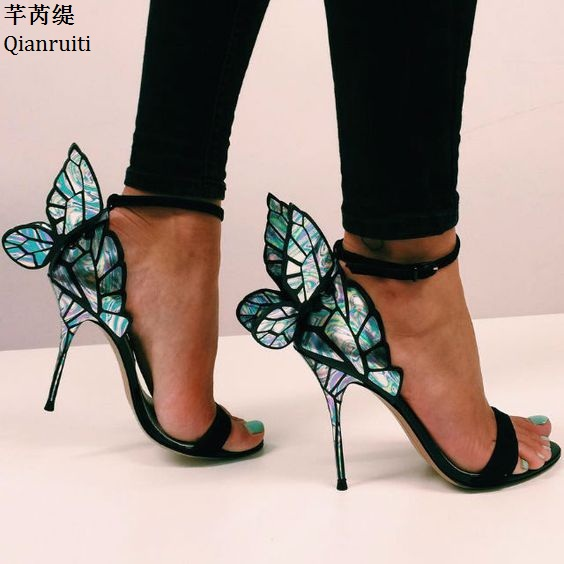 Qianruiti Summer Open Toe High Heels Sandals Butterfly Wings Stiletto Heels Women Wedding Shoes Ankle Buckle Strap Women Pumps
