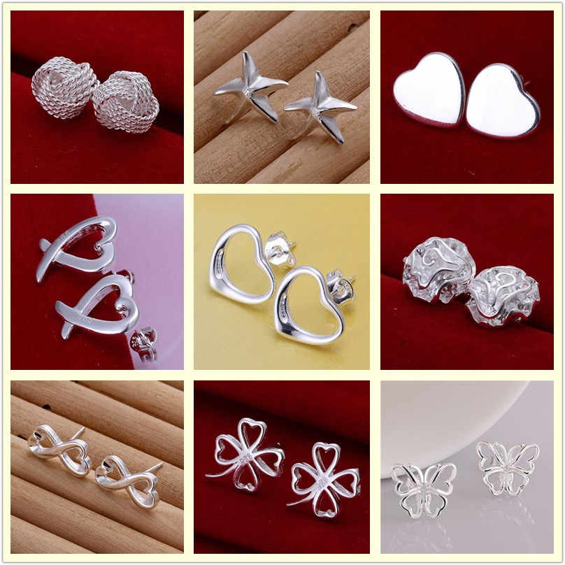 wholesale 925 stamped silver plated earring stud earrings wedding fashion earrings for Female Free shipping