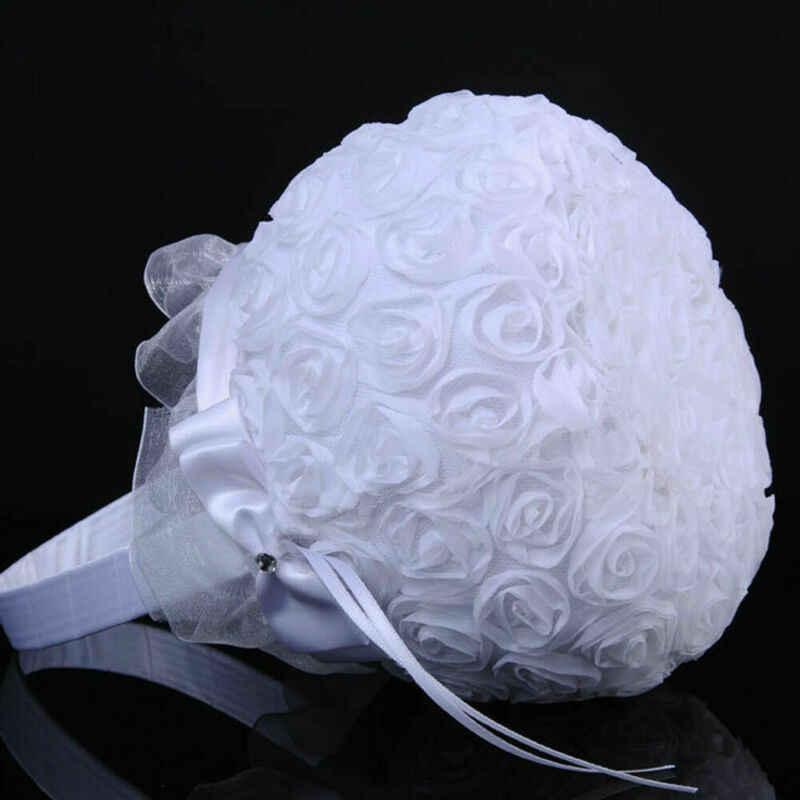 โรแมนติก Bowknot Burlap ซาตินจัดงานแต่งงาน Rose ดอกไม้ตะกร้าสาวดอกไม้ตะกร้าใหม่