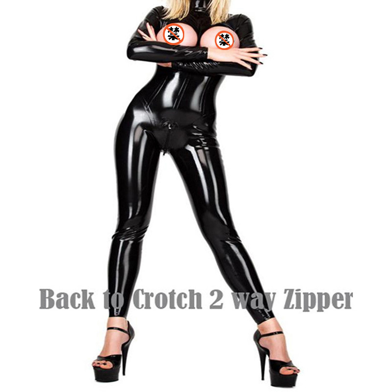 Women Sexy Wet Look Pu Faux Leather Jumpsuits Black PVC Catsuit Teddy Clubwear latex Bodysuit Zip up Stripper Catwoman Costumes