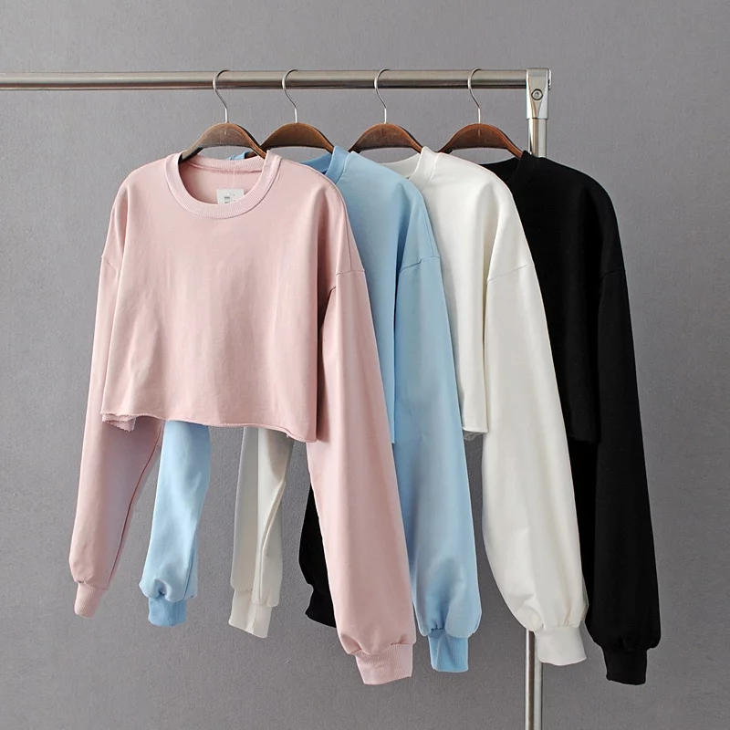 Fashion women pink loose o-neck Knitted long sleeve cropped Frayed Hem Crop Sweatshirt jumpers pullovers femme