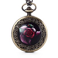 New Fashion Gorben Bronze Red Beautiful Rose Flowers Quartz Pocket Watch With FOB Chain Watch Men