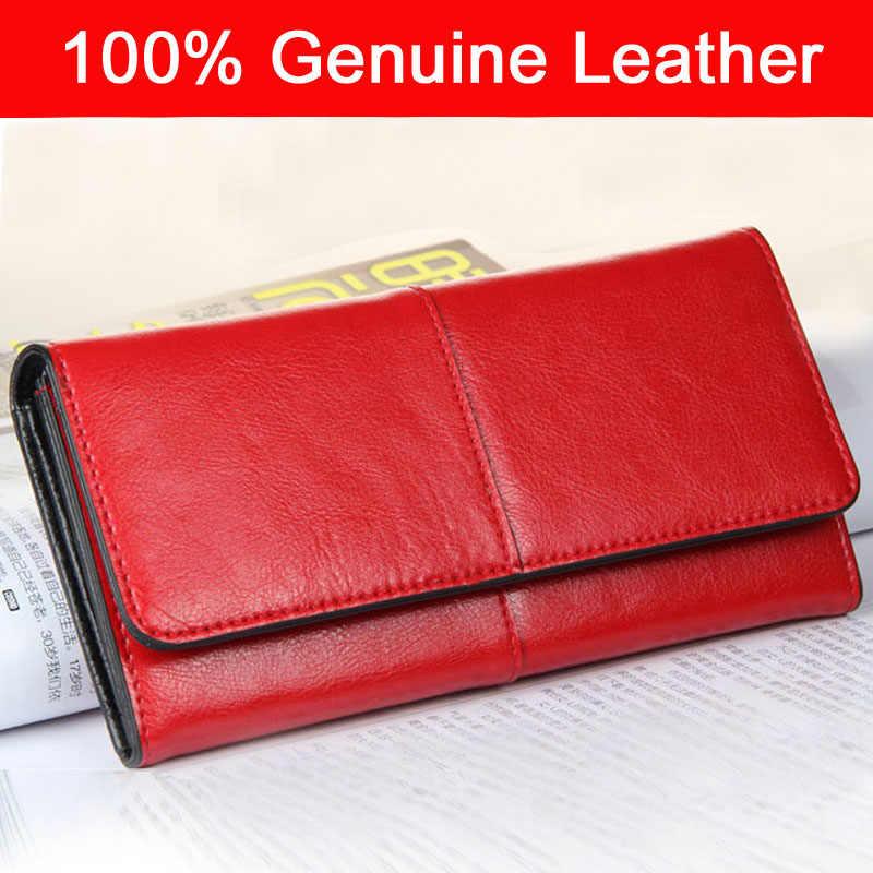 a5fb2448a ... Vaquero mujeres embrague carteras 100% genuino cuero de vaca de moda de  dama rojo cartera ...