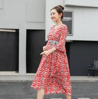 Fashion Floral Maternity Party Dress Ruffle Sleeve Ties Waist V Neck Summer Clothes for Pregnant Women Elegant Pregnancy