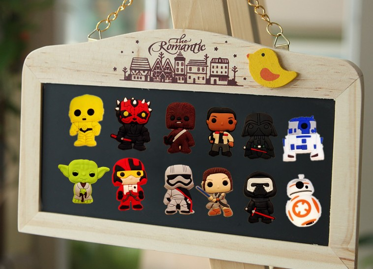 12pc Star War Character BlackBoard Message Sticker PVC Magnetic Refrigerator Sticker Party Favors Creative Souvenir for Child in Fridge Magnets from Home Garden