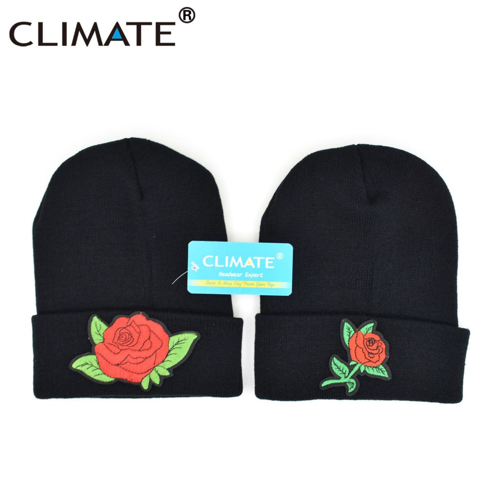 87bdc575d44 CLIMATE Women Rose Beanie Hat Winter Warm Flower Lady Nice Rose Hat Warm  Knitted Beanies Hip Hop Hat Cap For Adult Girls-in Skullies   Beanies from  Apparel ...