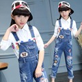 Girls pants 2017 Spring girls jumpsuit bib pants girls denim overalls kids ripped jeans girls overall trousers children pantalon
