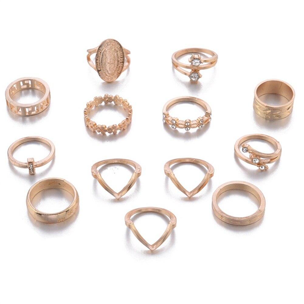 13-Pcs-Set-Boho-Virgin-Mary-Cross-Star-Flower-Leaves-Gem-Round-Gold-Joint-Ring-Set (3) -