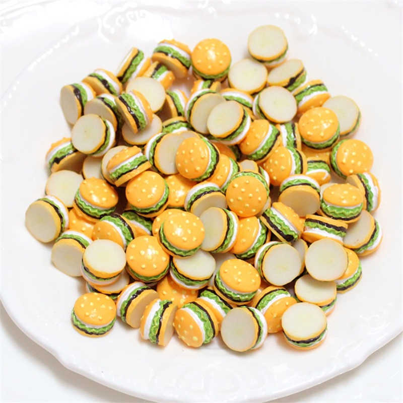 10pcs DIY Mini Hamburger Filler For Clear/Fluffy Mud Box Popular Toys Kids Lizun soft clay Slime Kit Accessories model tool Gift